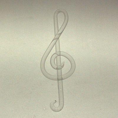 Notenschlüssel 12cm Klarglas